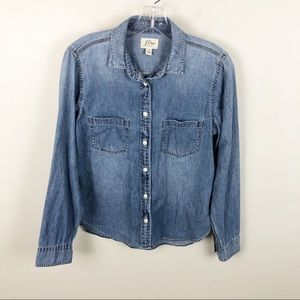 J Crew Everyday Chambray Shirt  Blue Button Up 6